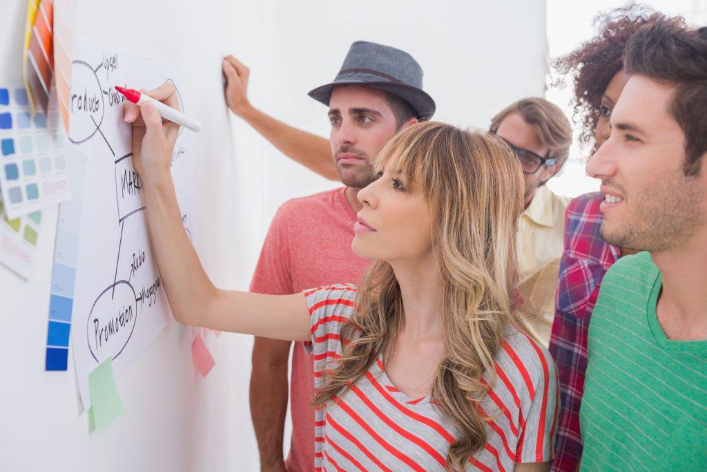 Jovens escrevem em uma lousa branca. Menina loira de cabeços longos, rapaz de chapéu e moço de verde em primeiro plano