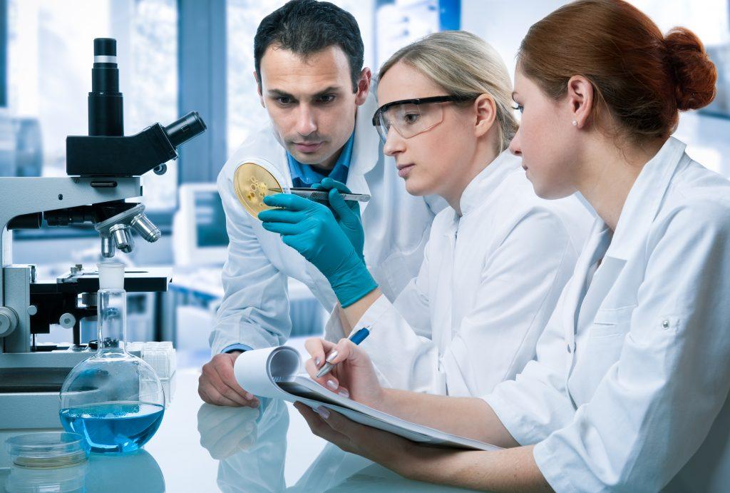 Duas mulheres e um homem analisando material biológico em um laboratório de pesquisa