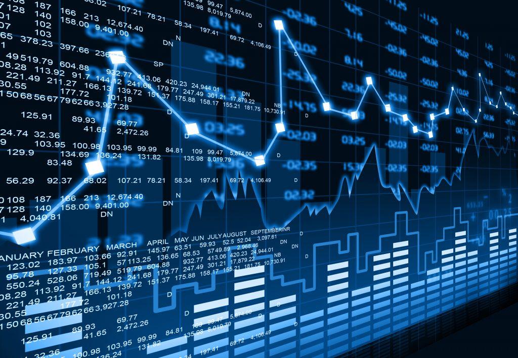 Estatística - Um monitor grande mostra diferentes gráficos